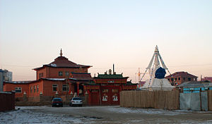 Religion in Mongolia - Urjinshadduvlin Monastery in Ulaanbaatar, an example of Sino-Tibetan-influenced Mongolian architecture.