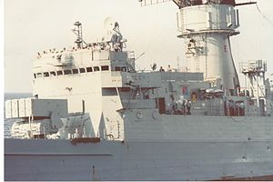 USS Trippe (FF-1075) - Damage to port bridge wing