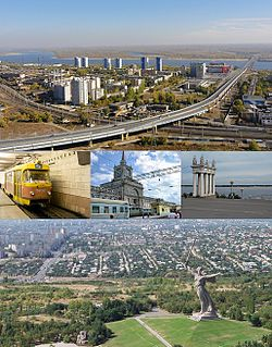 Top: View o Bolgogradsky Brig athort the Volga, Middle left: Komsomolskaya station o the Volgograd metrotram, Center: Volgograd railroad station, Middle richt: Propylaea on the Central embankment square at the Volga, Bottom: View The Motherland Calls on the Mamayev Kurgan Hill