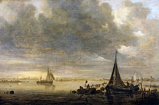 An evening river landscape with a ferry