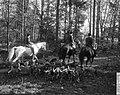 Vertrek van drie jagers te paard, omgeven door honden, Bestanddeelnr 918-4133.jpg