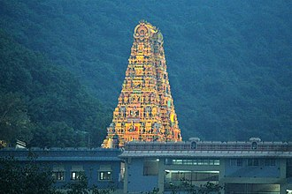Kanaka Durga Temple - A nearby temple viewed from Prakasam Barrage on night lights