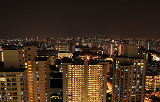 Public housing in Singapore - Night view of Toa Payoh, the second satellite town built by the HDB in the 1960s. Most blocks now in Toa Payoh are built in 1980s onwards.