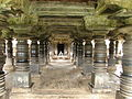 View of large open mantapa with polished lathe turned pillars in the Amrutesvara temple at Amruthapura, Chikkamagaluru district.jpg