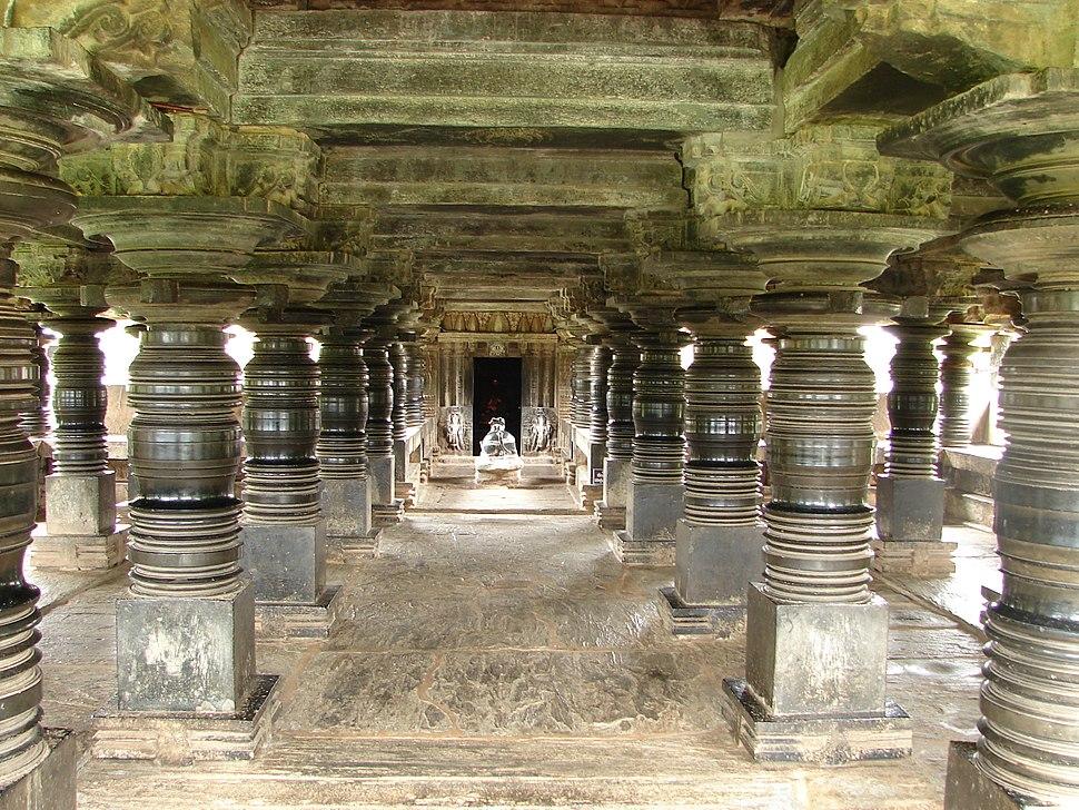 View of large open mantapa with polished lathe turned pillars in the Amrutesvara temple at Amruthapura, Chikkamagaluru district