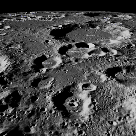 The flat highland between craters Manzinus C and Simpelius N was the planned landing zone for the Vikram lander. Vikram lunar lander planned landing zone.png