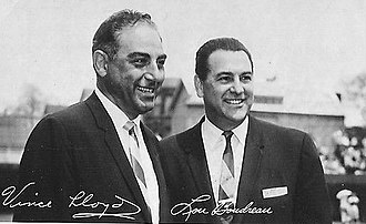 Lou Boudreau - Cubs broadcasters, July 13, 1965 – Vince Lloyd and Lou Boudreau