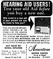 Vintage Advertising For The Acousticon Hearing Aid Gainmeter Model A-10, Dictograph Products Co., The San Bernardino California County Sun, August 16, 1965 (19754595666).jpg