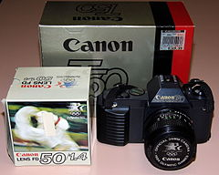 Vintage Canon T50 35mm SLR Film Camera, Made In Japan, Official 35mm Camera Of The 1984 Olympic Games (15775655734).jpg