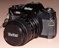 Vintage Vivitar v2000 35mm SLR Film Camera, Made By Cosina, Fully Manual, Takes K-Mount Lenses, Circa Late 1980s, Early 1990s (13471342685).jpg