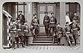 Vipurin tarkkampujapataljoonan upseereja kasarmin rappusilla (J David, 1891).jpg