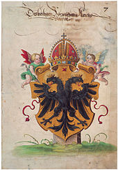 Doppeladler Im Wappen Des Heiligen Römischen Reichs, Illustration Einer  Prachthandschrift Um 1540