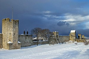 Geology of Gotland - View of the city wall of Visby built from local limestone.