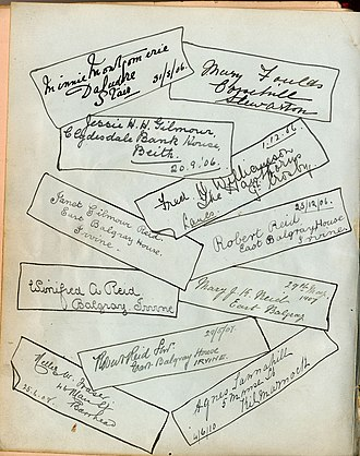 Dalmore House and Estate - A page from the Bonshaw Visitors' Book