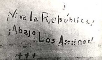 """Cadets of the Republic - """"Viva la Republica, Abajo los Asesinos"""" message which cadet Bolívar Márquez Telechea wrote with his blood before he died"""
