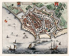 Vlissingen in 1649. Blaeu.