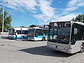 Volvo 7700 and Mercedes-Benz Citaro G BlueTec-Hybrid at Noszlopy Park's local bus terminal, 2016 Hungary.jpg
