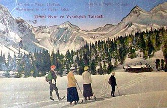 Tourism - 1922 postcard of tourists in the High Tatras, Slovakia.