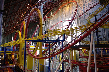 June 14: The Mindbender at Fantasyland inside West Edmonton Mall derails, kills three riders, injures one rider, and slams into a concrete post. WEM Galaxyland MindBender Galaxy Orbitter.JPG