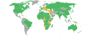 Map of the World showing the participants in World War I. Those fighting on the Allies' side (at one point or another) are depicted in green, the Central Powers in orange, and neutral countries in gray.