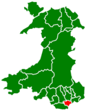Location map of Cardiff, Wales.