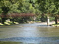 Walking bridge over the Oconaluftee River, Cherokee, NC IMG 5147.JPG