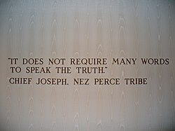 Wall quote from Chief Joseph