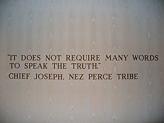Chief Joseph - A wall-mounted quote by Chief Joseph in The American Adventure in the World Showcase pavilion of Walt Disney World's Epcot