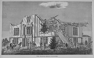 1878 Wallingford tornado - Artist's drawing of damage to the grade school