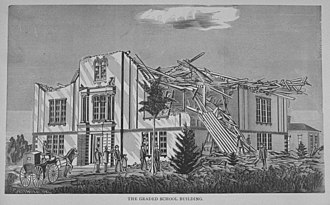 1878 Wallingford tornado - Artist's drawing of damage to the grade school