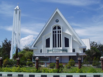 A Protestant church in Indonesia. Indonesia has the largest Protestant population in Southeast Asia. Wamena Church Betlehem.jpg