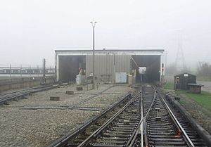 Warden station - View from an eastbound train approaching the station