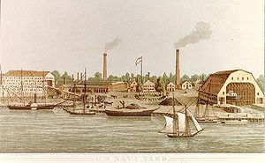 Washington Navy Yard - Colored lithograph of Washington Navy Yard, circa 1862