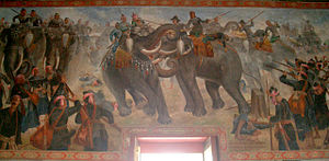 Naresuan - Elephant battle between Naresuan and Mingyi Swa as wall murals in Phra Ubosot, Wat Suwan Dararam, Ayutthaya, Thailand.