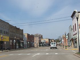 Looking west at downtown Wautoma, Wisconsin