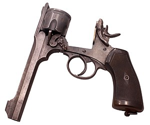 Cylinder (firearms) - A Webley Mk VI .455 calibre break-top service revolver