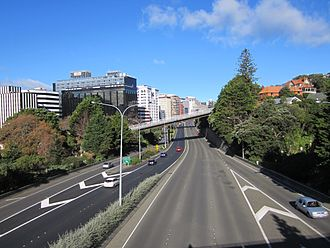 Bolton Street Memorial Park - The park is bisected by the Wellington Urban Motorway.