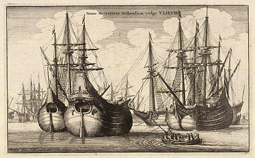 Wenceslas Hollar - Dutch freighters or Flutes (State 2)