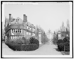 Quadrangle Dormitories (University of Pennsylvania) - McKean House is at the apex of the Upper Quad. Woodlands Walk is at far left, Hamilton Walk and the Class of '73 Gate are at right.