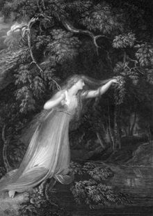 An engraving taken from a painting shows Ophelia as a woman in a long white filmy dress with long blonde hair. She is beneath a large tree and holds onto a thin branch as she reaches out precariously over a river.