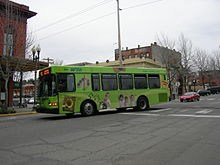 A green city bus pulls up to a stop