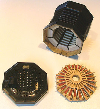 Concertina - English Concertina disassembled, showing bellows, reedpan and buttons.