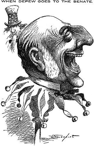 "Political cartoon ""When Depew goes to the Senate"", 1899"