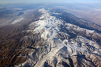 White Mountains (California) - Aerial view of the White Mountains, looking north over the Pellisier Flats to Montgomery and Boundary Peaks at the end of the range.