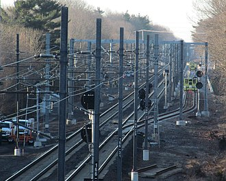 Wickford Junction station - Siding and Stony interlocking construction in January 2012