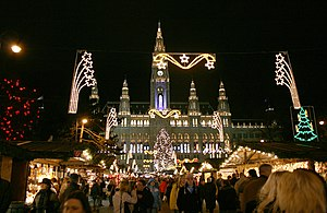 Christkindlmarkt am Rathausplatz in Wien, Öste...