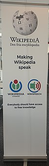 Wikispeech Wikimedia Sverige roll up (old logo).jpg