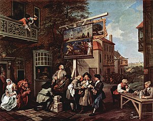 William Hogarth's Canvassing for Votes depicts the corruption endemic in election campaigns prior to the Great Reform Act.