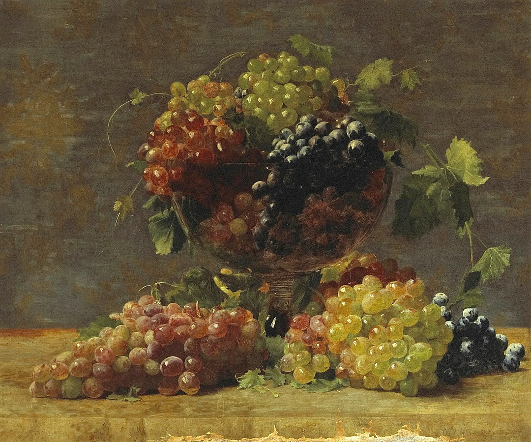 File:William J. McCloskey - A Variety of California Grapes in a Glass Vase.jpg