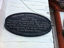 William j cory plaque